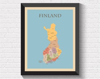 Finland Map, Finland Print, Finland Poster, Map of Finland, Finland Art, Finland Decor, Finland Map Print, Finland Wall Art, Finland