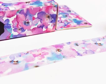 Purple Flowers Washi Tapes - Masking Tape - Japanese Washi Tape - Paper tape - Decorative tape - Planner tape - Scrapbooking Tape