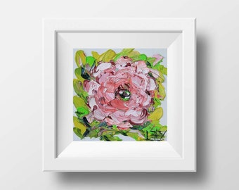 Peony Print, Pink Peonies, Floral Art, Flower Print, Pretty in Pink, Romantic Gift, Feminine Art, 8x8, Fine Art Print, Floral Giclee Print