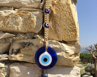 Ourdoor wall decor glass evil eye hanging, exterior design outdoor glass hanging, terrace decor, oriental patio decor, middle eastern art
