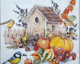 Decoupage paper napkins Birds Decoupage paper Napkin for decoupage autumn