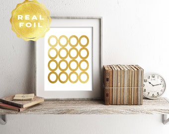 Real Gold Foil Circles Art Print 4 x 6, 5 x 7, Silver Foil, Trendy Decor, Minimalist, Modern, Print Series, Geometric Decor, Room Decor