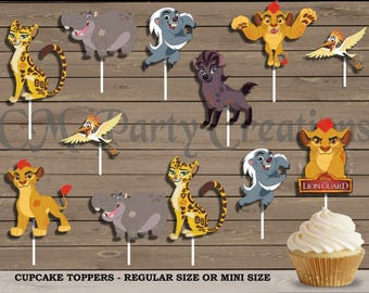 The Lion Guard Cupcake Toppers, Die Cuts, Birthday Party Cupcake Toppers