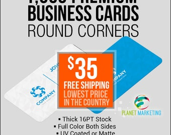 1000 16PT Round Corners Business Cards 25 Bucks + FREE Shipping Full Color Front/Back
