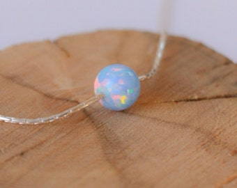 Opal necklace, opal ball necklace, opal silver necklace, opal jewelry, tiny dot necklace, opal bead necklace dot necklace blue opal necklace
