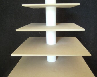 5 Tier Square Custom Made Unfinished Cupcake Stand.  Holds up to 104 Cupcakes.