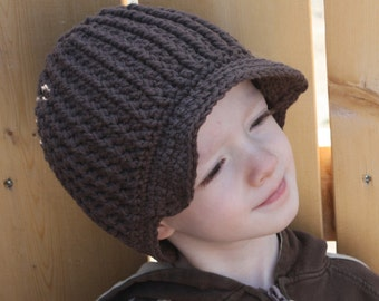 Ribbed Newsboy Hat pdf PATTERN, newborn to adult sizes, beanie, with flower, to crochet, photo prop, digital download