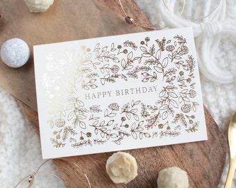 Floral Greeting Card / Botanical Birthday Greeting Card / Gold foil Card / Letterpress Card / Real Gold foil