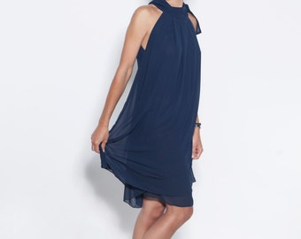 Chiffon dress | Bow dress | Navy blue dress | LeMuse bow dress