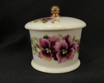 Vintage House of Prill Brass & Porcelain Postage Stamp Holder, Purple Pansies with White Flowers, Spring Flowers Design, Item #558627474