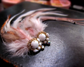 Milk Glass Lovebirds, Feathered Hair Clips