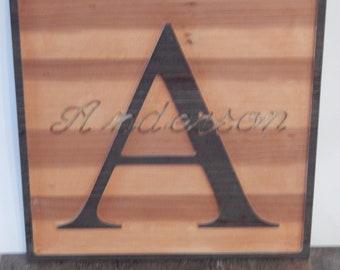 Initial name plaque