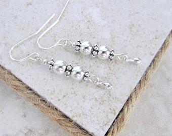 Dainty earrings Silver earrings Silver drop earrings Silver bead earrings Best selling jewelry Best selling earrings Mothers Day Gift