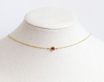 Ruby Choker Necklace - Ruby Choker, Layering Necklace Gold, Birthstone Choker Necklace, Red Stone Choker, July Birthstone Necklace