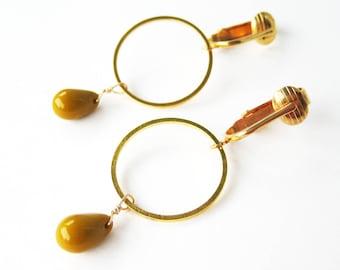 Mustard Yellow Clip-on Earrings, Gold Circle Dangle Clip Earrings, Opaque Ocher Glass Teardrop For Non Pierced Ears, Geometric, Ellen