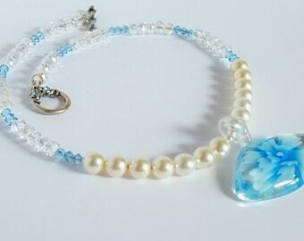 Blue Flower Glass Pendant Necklace