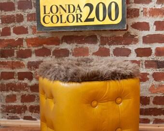1 Laundry Cube stool laundry chest laundry basket yellow 70s