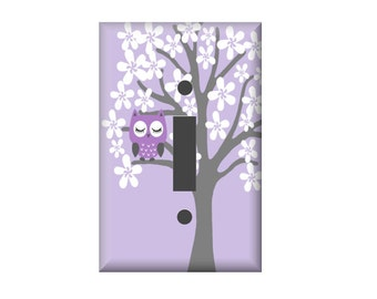 Owl Switchplate Cover, Lavender Gray Owl Nursery, Double Switchplate,  Woodland Nursery - Electrical Cover - Custom Switchplate