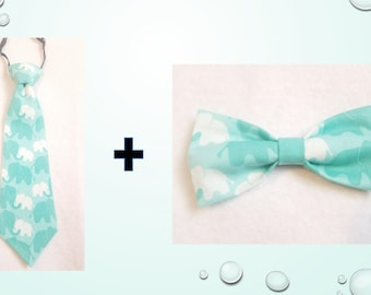 Mint Green & White Mommy Baby Elephant 100% Cotton pretied Tie AND Bow tie SET for kids toddler or baby Sizes NB - 7 Yrs