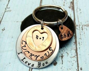 Personalized Penny Key Chain,Custom Anniversary Key Chain,Lucky Us Key Chain,Lucky Us Keychain,Penny Keychain,Anniversary Gift,2015 Keychain