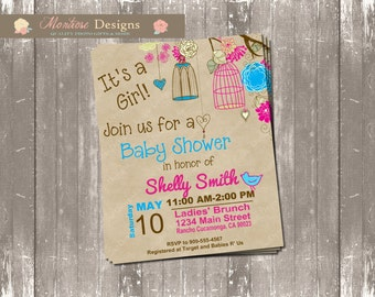 Shabby Chic Birdie Baby Shower Invite (Magenta and Bright Blue) DIGITAL FILE