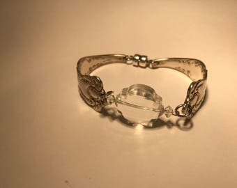 Bracelet Made From Vintage Silver Plate Flatware And Faceted Chrystal Charm