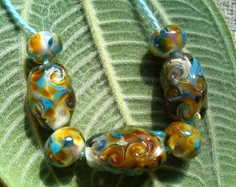 lampwork beads/glass beads/sra lampwork/windy day/fall/leaves/