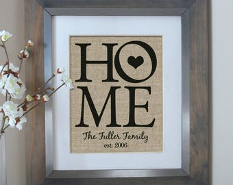 HOME Decor Personalized Burlap Print   Housewarming Gift   Family Name Sign    New Home Housewarming