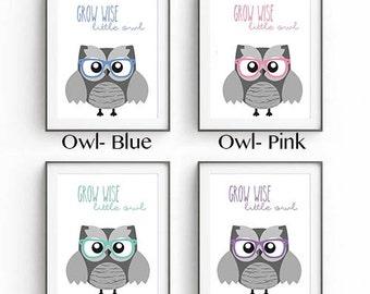 Hipster Owl Nursery art print decoration, gallery wall