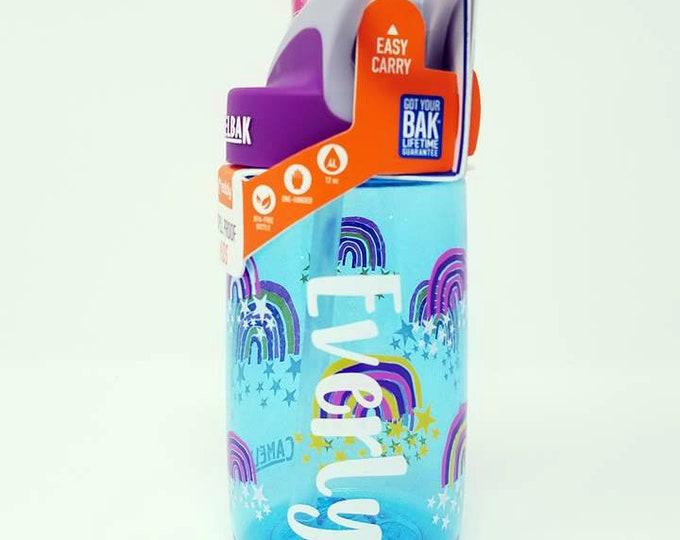 Personalized Kids CamelBak ® Water Bottle Glitter Rainbows - Bottle, Hydrate, Custom,  Sparkle,  Toddler, School,  Shimmer, Camica Font-.4L