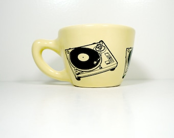 12oz cup / mug with a turntable print, shown here on buttercream glaze - Made to Order/ Pick Your Color / Pick Your Print