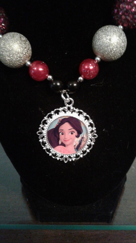 Elena of Avator Necklace,Handmade Necklace,Disney Princess necklace, Birthday Necklace, Toddler Necklace, Kids Jewelry, Rhinestone Pendant