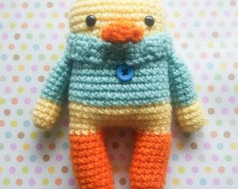Ready to Ship Pineapple the Duck - Crochet Duck - Amigurumi - Stuffed Animal - Cozy Critter