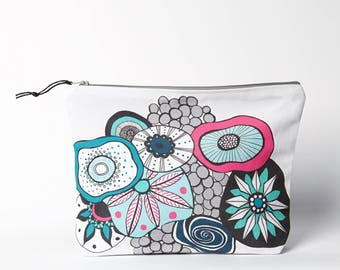 Coral Zipper bag, Large Zipper Pouch, Travel Organiser, Large Pencil case,Hand printed, weather proof lining