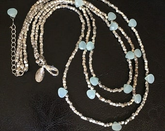 Vintage Gun Metal Martensite & Aqua Drop Crystals Waterfall Necklace