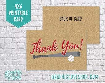 Printable Baseball 4x6 Thank You Card - Folded or Postcard, Birthday Party | Digital High Res JPG Files, Instant Download, Ready to Print