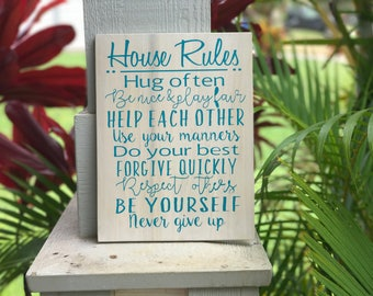 house rules sign, house rules, home rules sign, home rules wood sign, family rules, family, home,