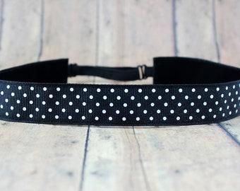 No Slip Headband. Solid Workout Headband. Yoga Headband. Adjustable Headband. Running Headband II black and white dots