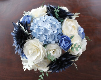 Paper Bridal Bouquet - Navy, Pale Blue, Ivory and Periwinkle - Hand tied bouquet of Dahlias, Open Roses, Peony, Hydrangea, Greenery