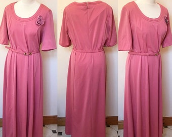 Vintage 1970s Lerose Maxi Dress - UK Size 18/US Size 14