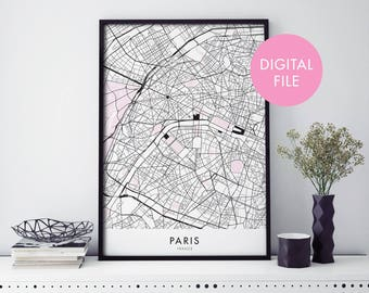 Paris, France City Map Print Wall Art   Print At Home   Digital Download File