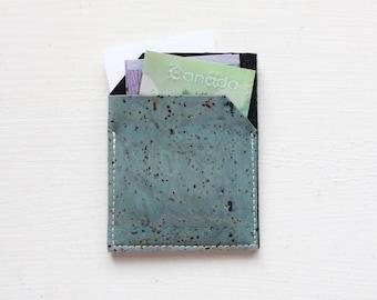 Slim Front Pocket Cork Wallet - Blue