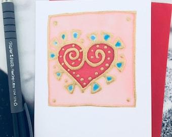 hand painted silk Heart card