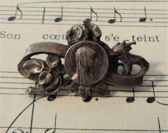 Antique French Virgin Mary with Rose Pin / Brooch c1920