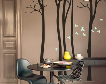 Full Moon - Living room vinyl wall tree decal sticker, birds mural - M021