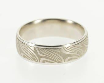 14k Wood Grain Textured Patterned Men's Wedding Ring Gold