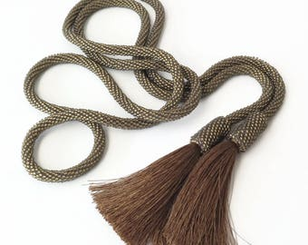 Long Bronze Bead Crochet Rope Necklace With Tassels, Mute Gold Lariat