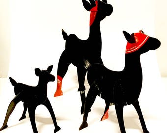 Vinyl Record Art 3D Reindeer set of 3