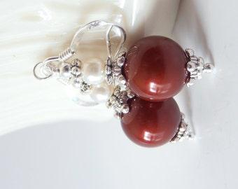 Bridesmaid Earrings, Burgundy Dangles, Swarovski Pearl Wedding Jewelry, Beaded Earrings, Dark Red Bridesmaid Jewelry Set, Burgundy and Ivory