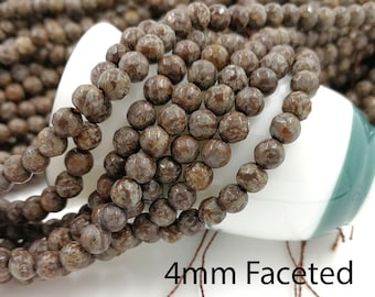 1 Full Strand 4mm Brown Snowflake Obsidian Faceted Round Gemstone Beads Round Faceted Natural Snowflake Obsidian Beads